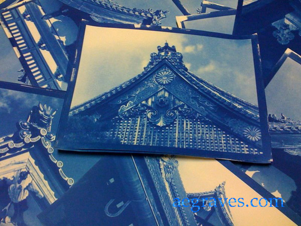 Cyanotypes of original images from Kyoto, Japan by A.E. Graves
