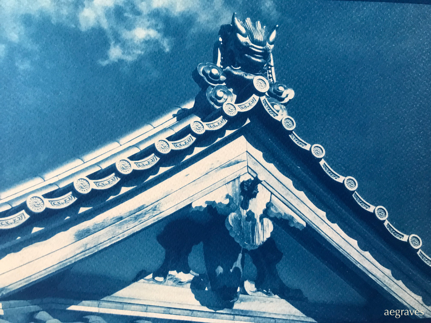 Cyanotype of a temple detail in Kyoto, Japan by A.E. Graves