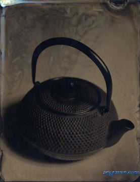 ferrotype of Japanese-style iron teapot