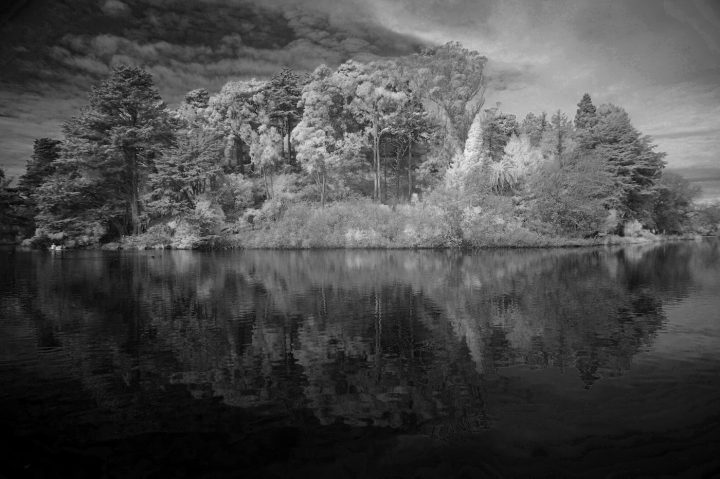Infrared image of Strawberry Hill, Stow Lake