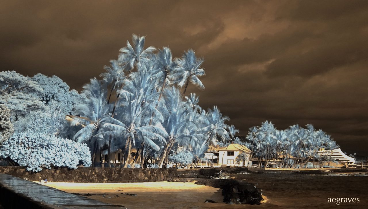 Scene in infrared in Kona, on the Big Island of Hawaii by A.E. Graves