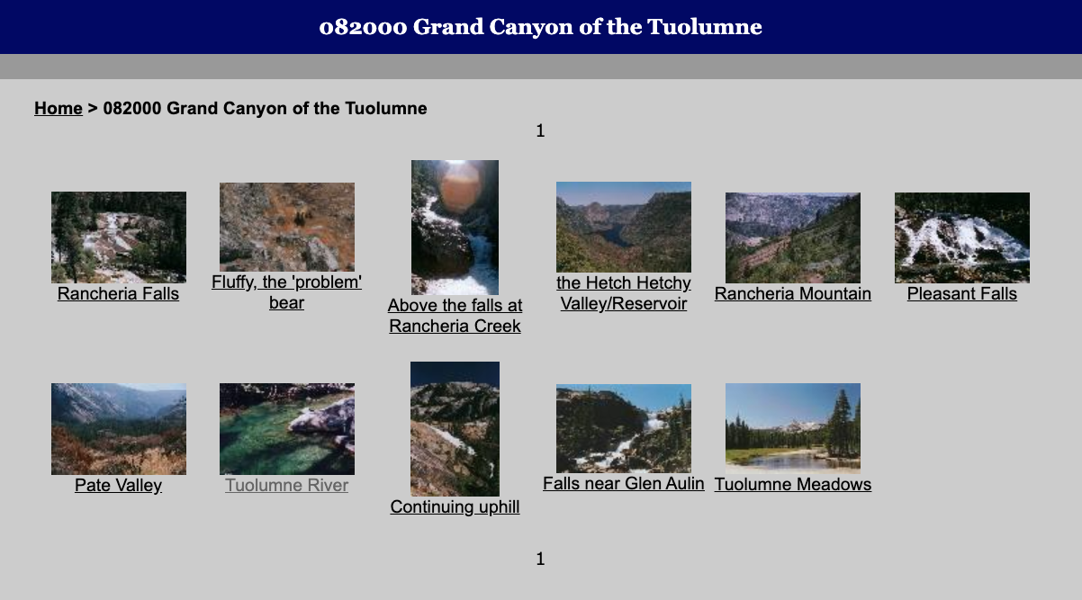 Tuolumne images in a simple gallery